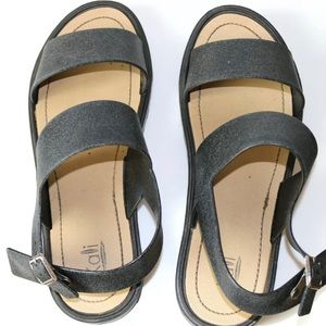 KALLI 9 Wide Strap Sparkly Black Vegan Sandals
